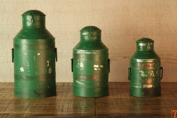 Set of 3 green antique milk churns
