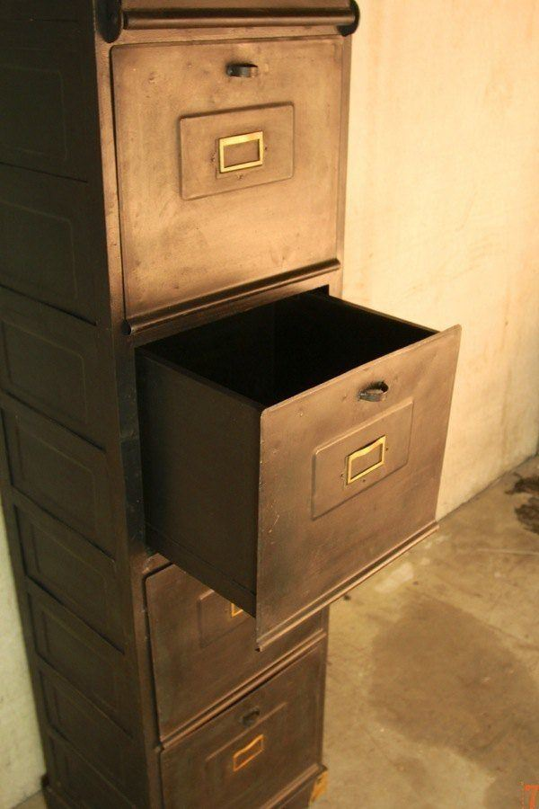 Industrial metal filing cabinet with carbon finish