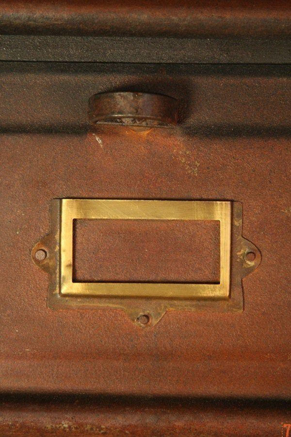 Industrial metal filing cabinet with rust finish