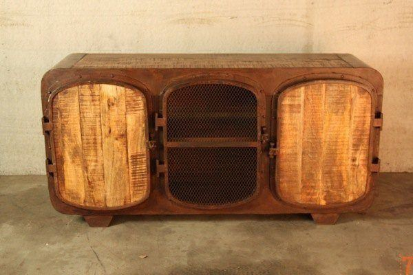 Boat industrial TV stand with rusty finish