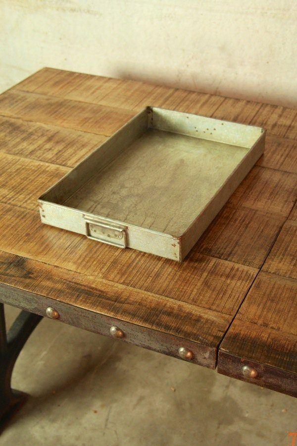 Set of 3 industrial style metal trays