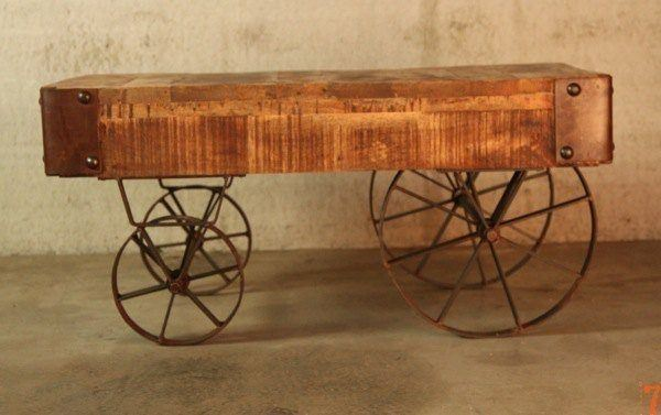 Industrial Furniture  Industrial coffee table with cart inspiration  BARAK& -> Table Basse Inspiration Berbère