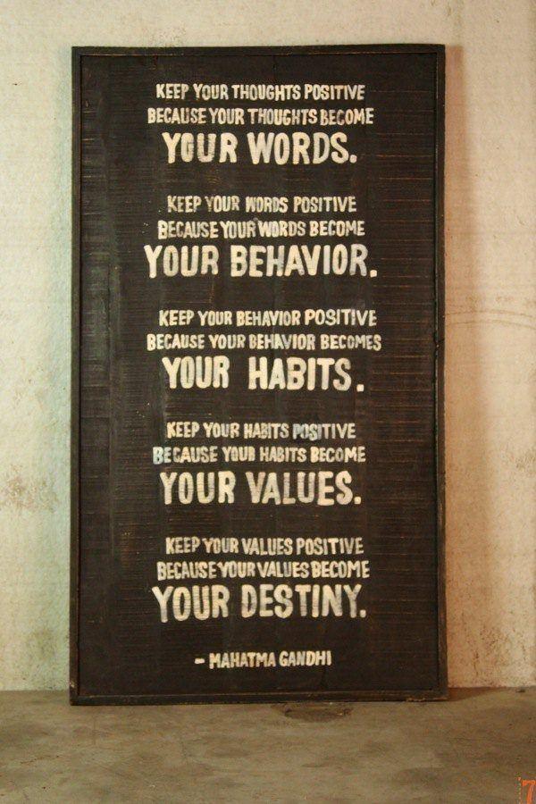 Gandhi quote wooden sign