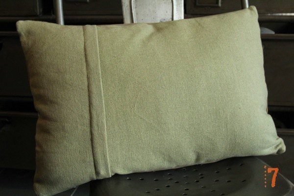 "Recycled military tent cushion ""HOME"""