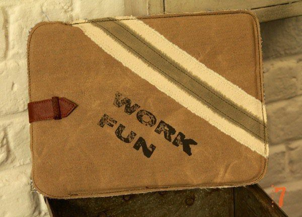 "Vintage style iPad case ""Work, Fun"""