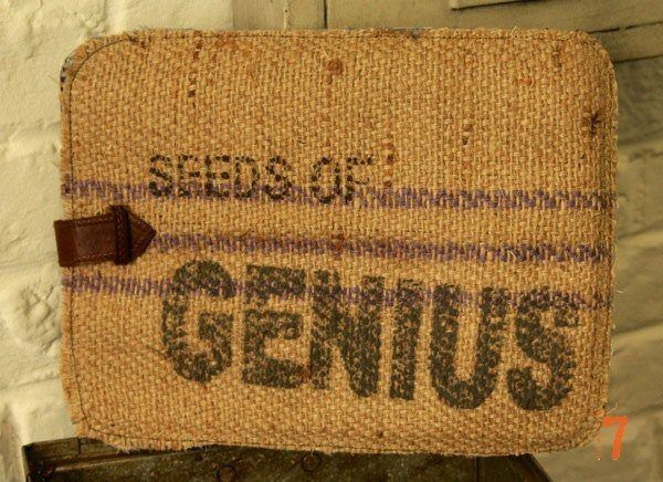 "Vintage style hessian iPad case ""Seeds of Genius"""