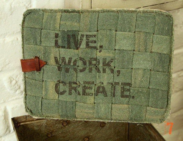 "Vintage style denim iPad case ""Live Work Create"""
