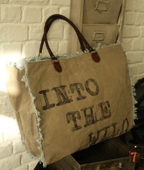 Hessian beach bag with leather straps