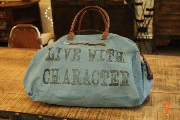 Blue hessian travel bag