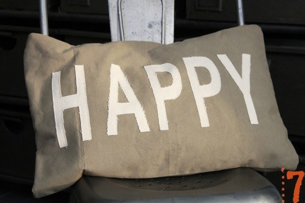 "Grey canvas cushion ""HAPPY"""