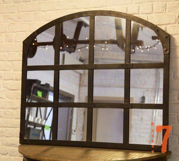 industrial furniture black metal industrial mirror barak 39 7. Black Bedroom Furniture Sets. Home Design Ideas