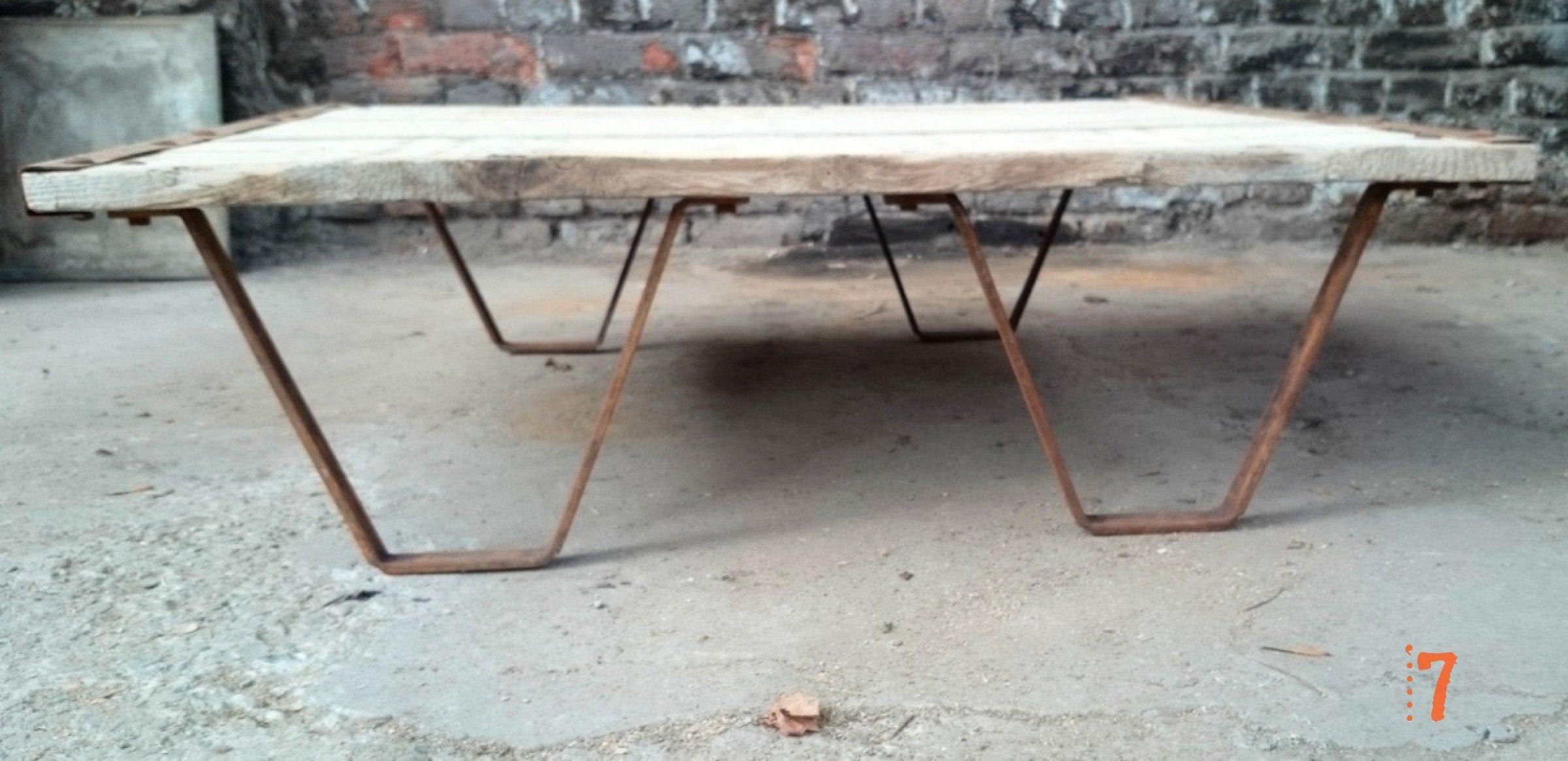 Table Jardin Bois : Industrial Furniture - Solid wood garden coffee table  BARAK7