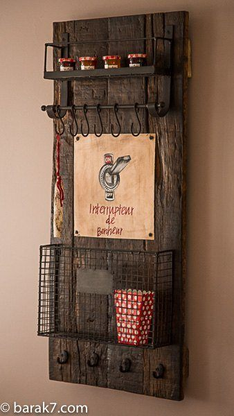 Quirky wood and metal kitchen storage board