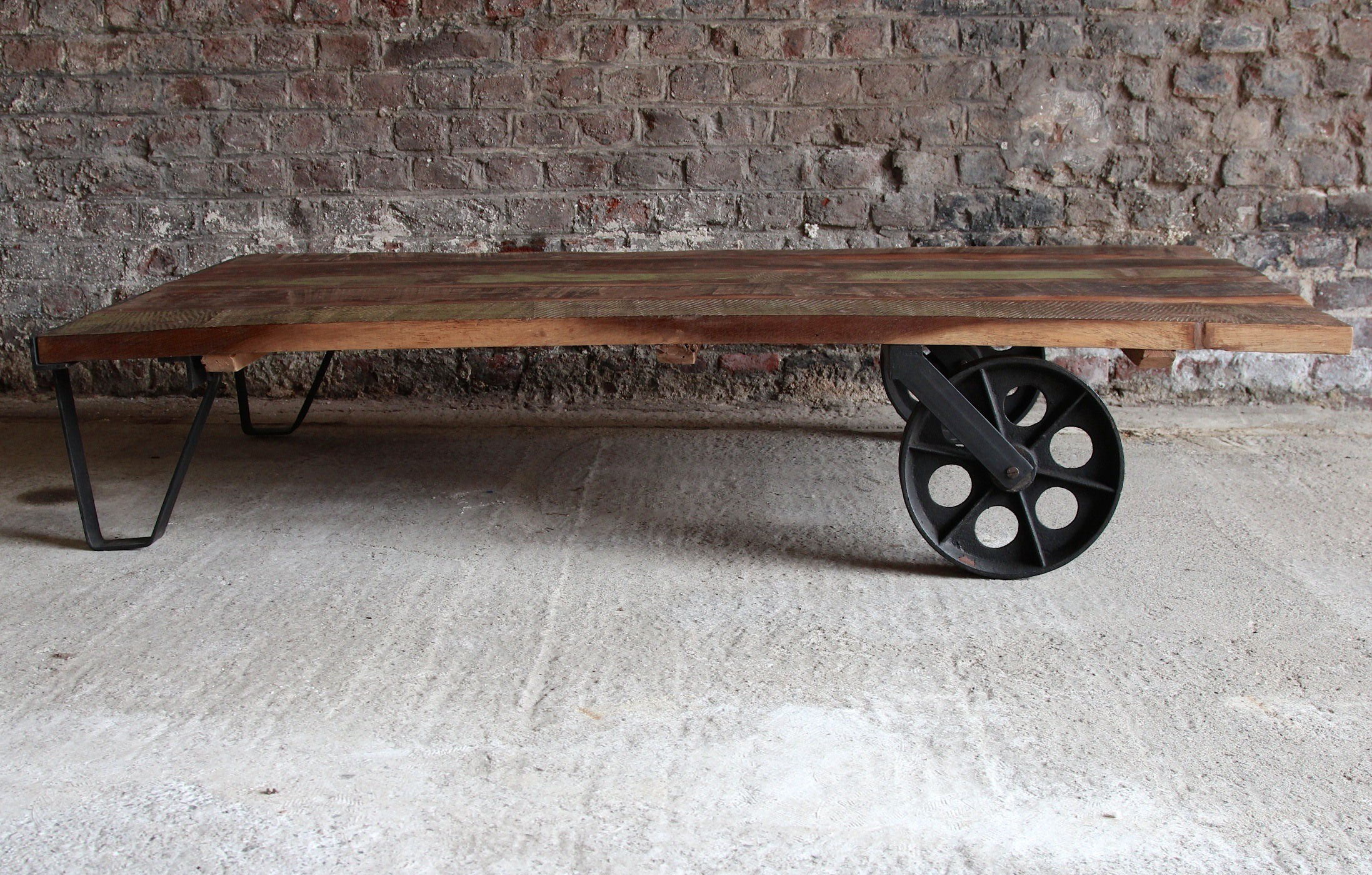 Industrial side table made of recycled wood