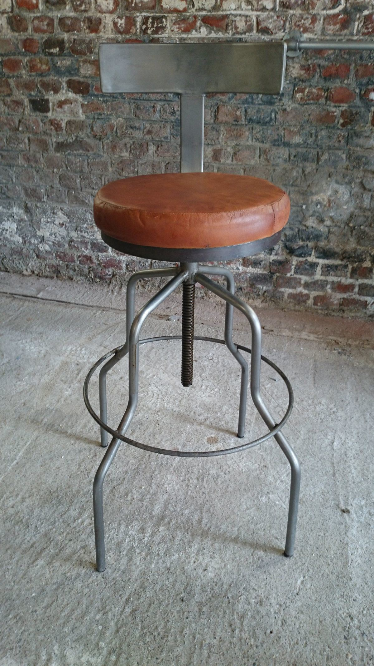 Industrial bar stool with backrest