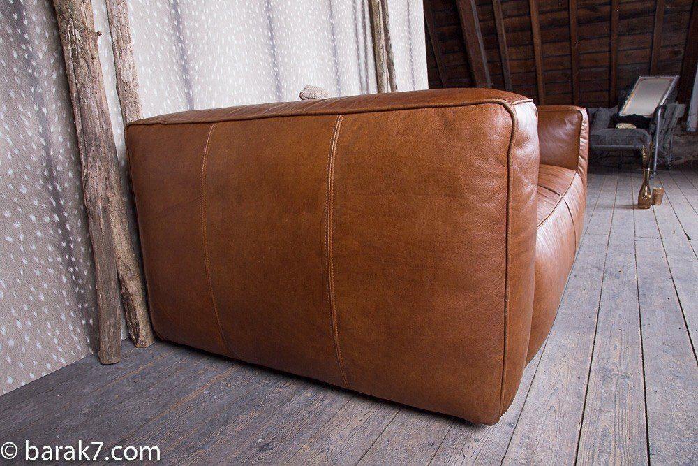 Industrial furniture lounge couch cognac barak 39 7 - Canape cognac ...
