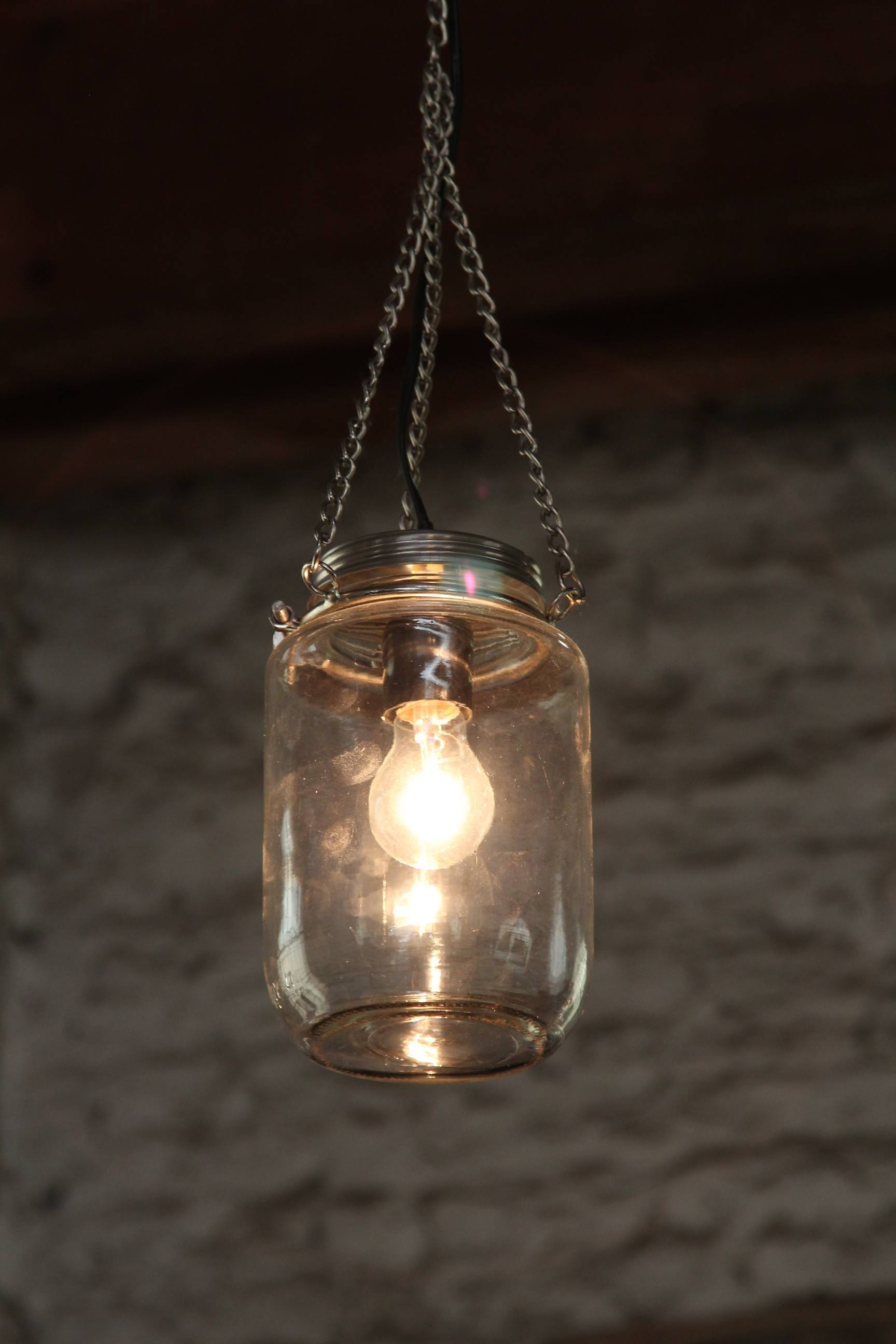 Industial lamp in a jar
