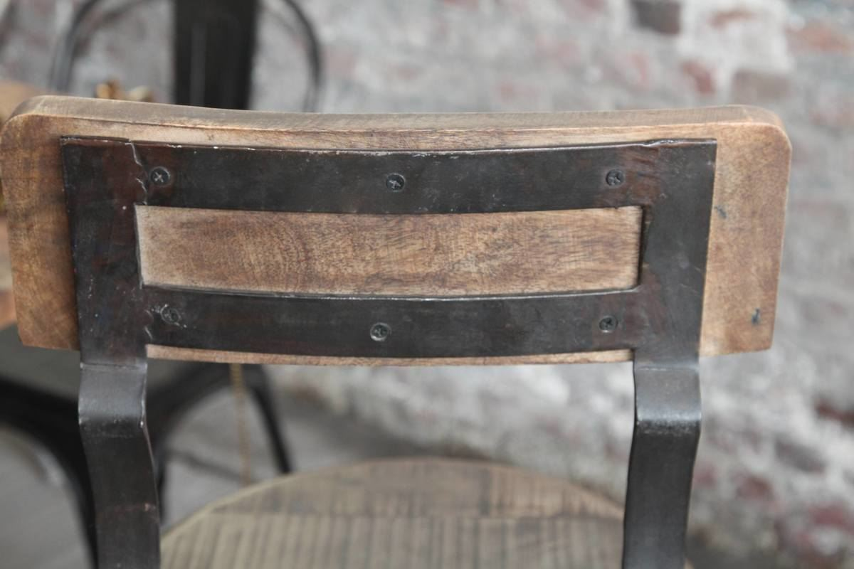 Bar En Bois Brut : Industrial Metal and Wood Bar Stool