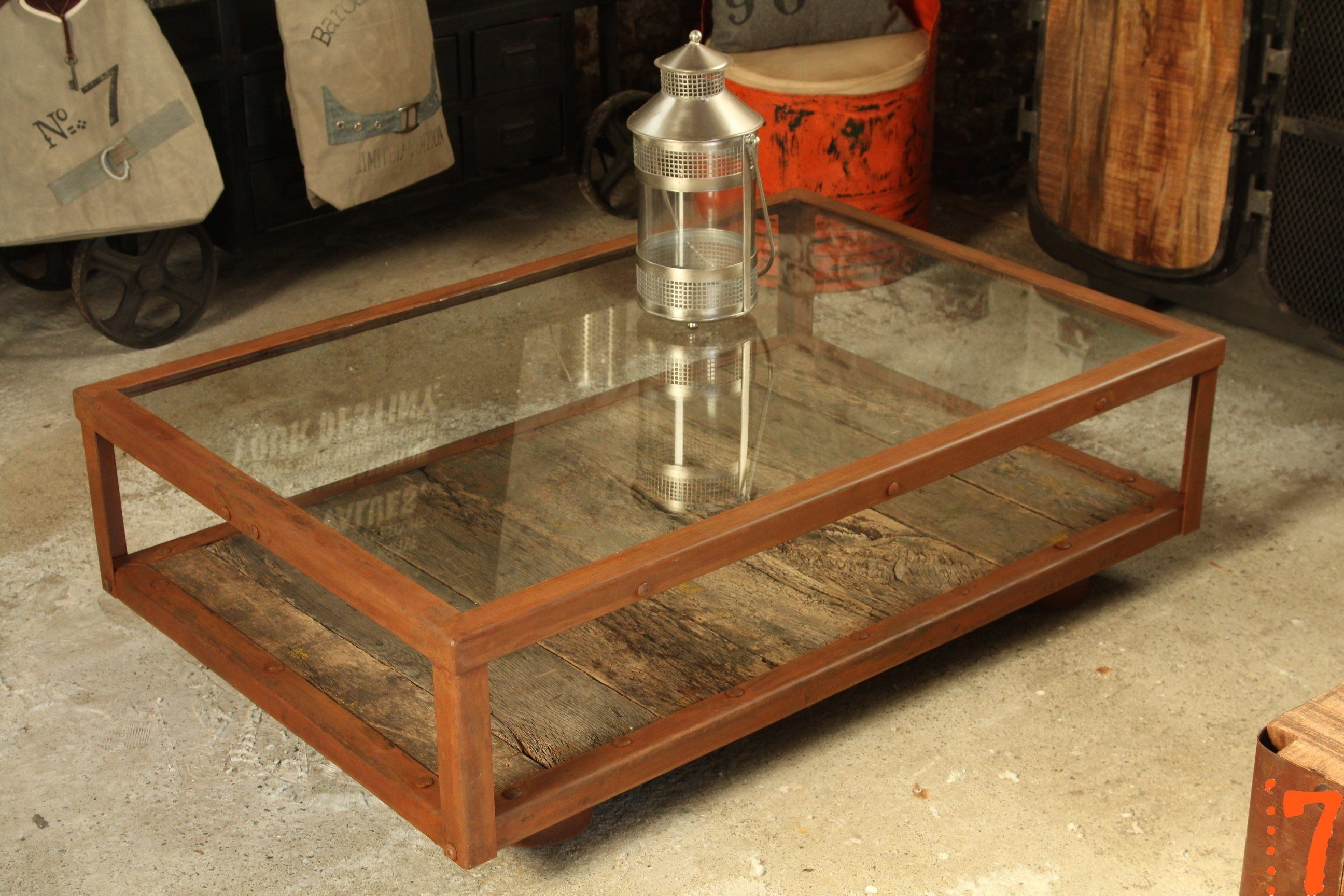 Industrial furniture industrial glass and wood coffee - Table basse roulette industrielle ...