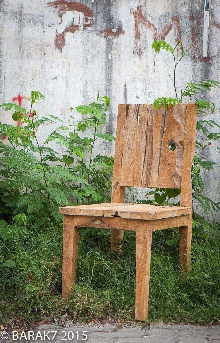 Chaise JANE urban jungle en teck - 1