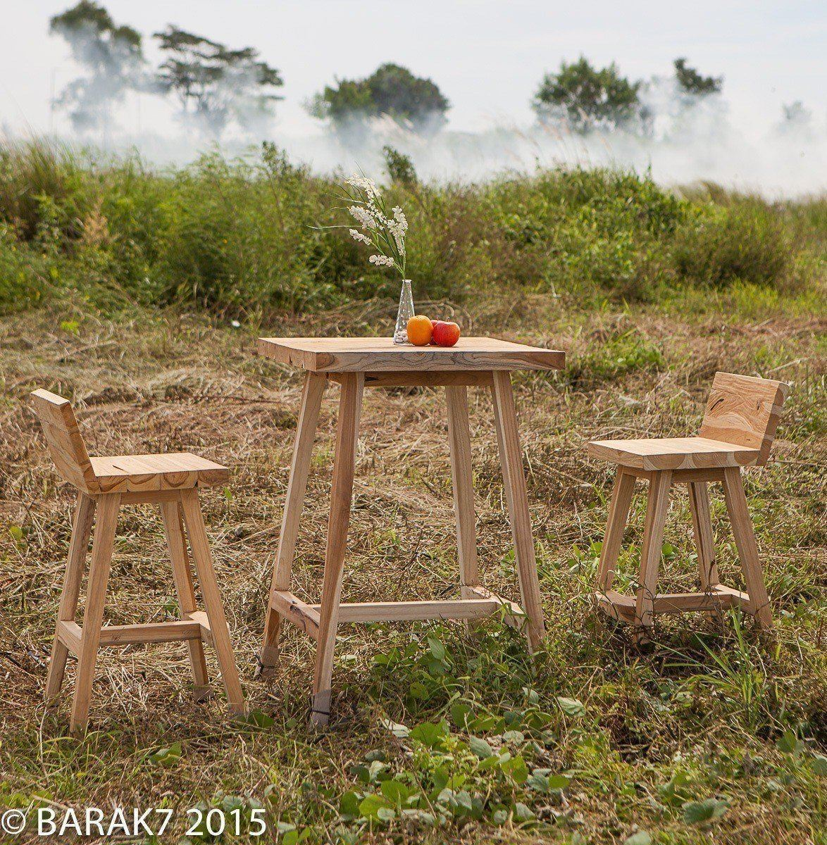 Set de bar tabourets et table RAGGA Urban Jungle en teck - 1