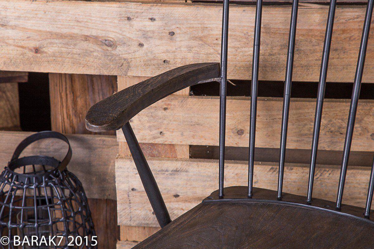 Chaise industrielle bois et métal avec accoudoirs
