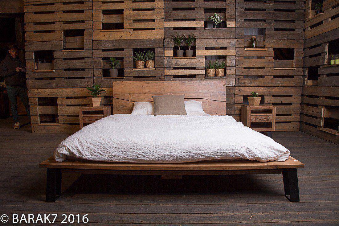 Lit 2 places en acacia urban jungle de b a r a k 39 7 tous nos meubles - Lit style industriel ...