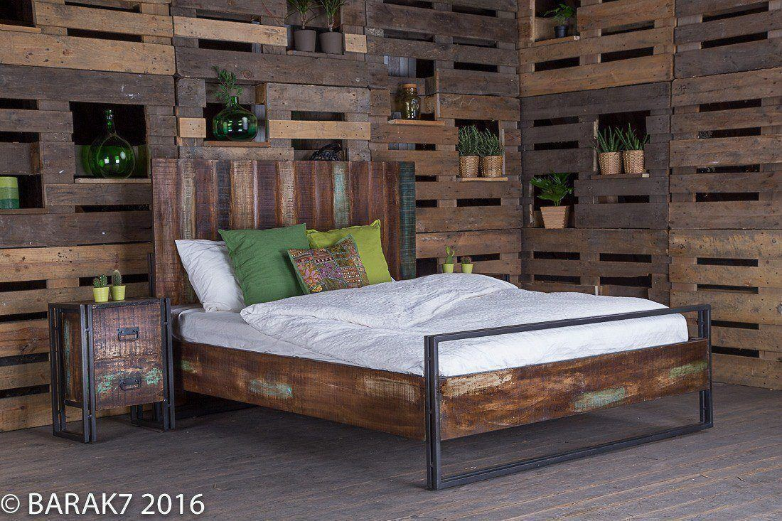 tete de lit etagere 15 lit 2 places industriel en bois recycle hof bed 16045. Black Bedroom Furniture Sets. Home Design Ideas