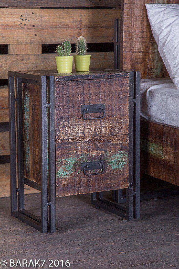 Table de chevet industrielle en bois de b a r a k 39 7 tous nos meubles in - Table de nuit industrielle ...