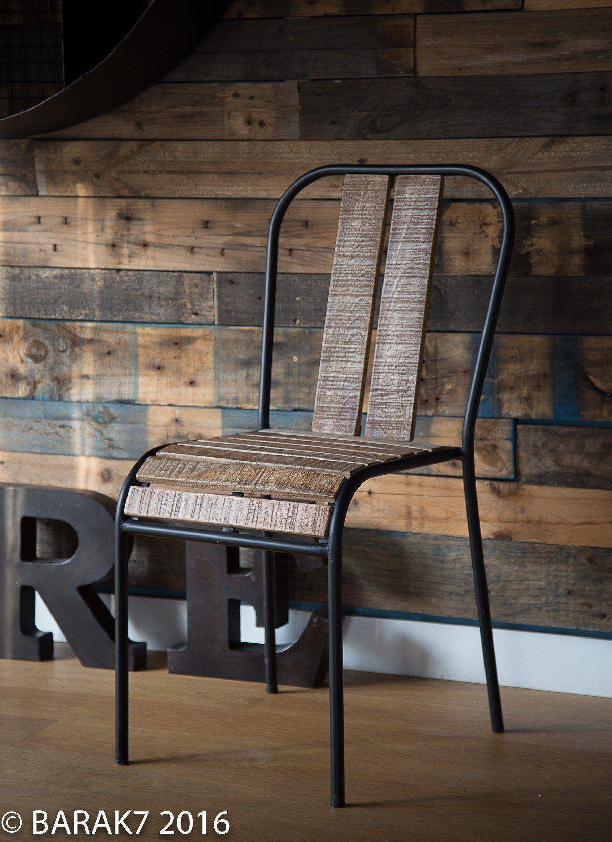 Chaise industrielle bistrot sydney bois et m tal for Chaise bistrot bois metal