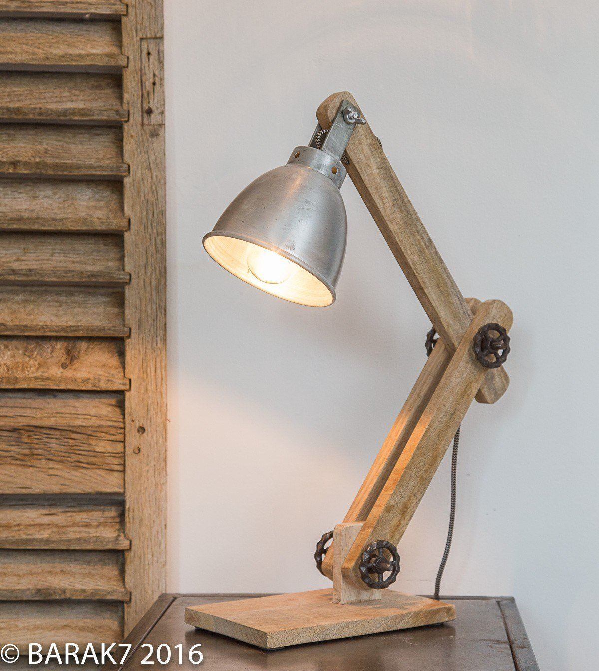 Lampe poser industrielle scandinave genius en manguier for Lampe de chevet industriel