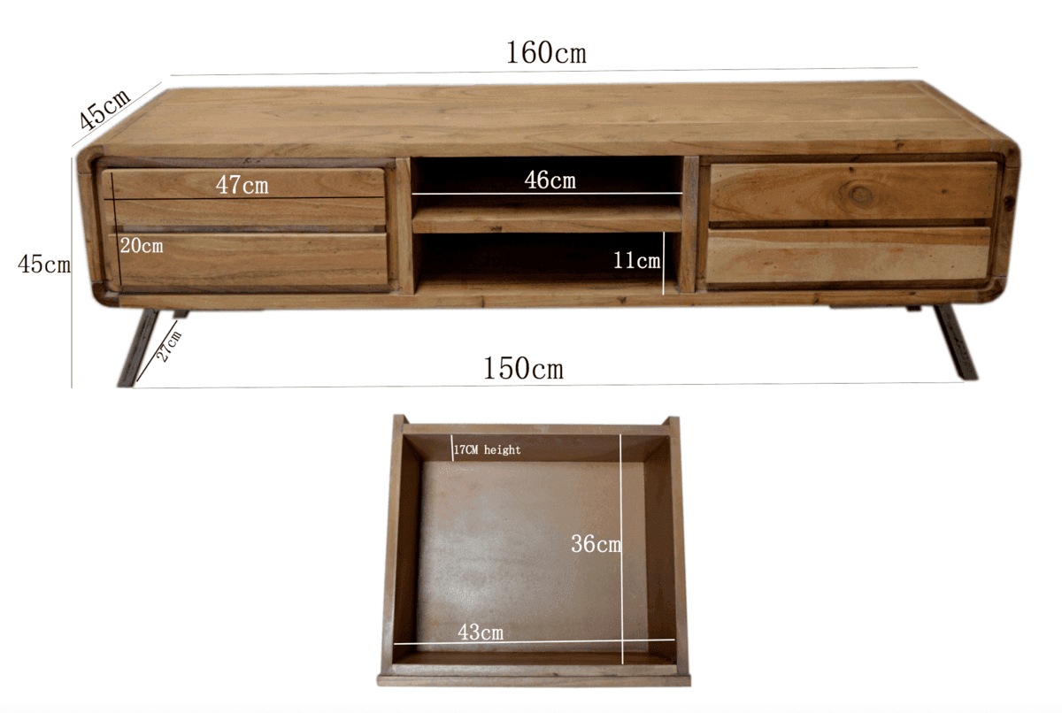 Industrial furniture scandinavian wooden tv cabinet for Meuble industriel