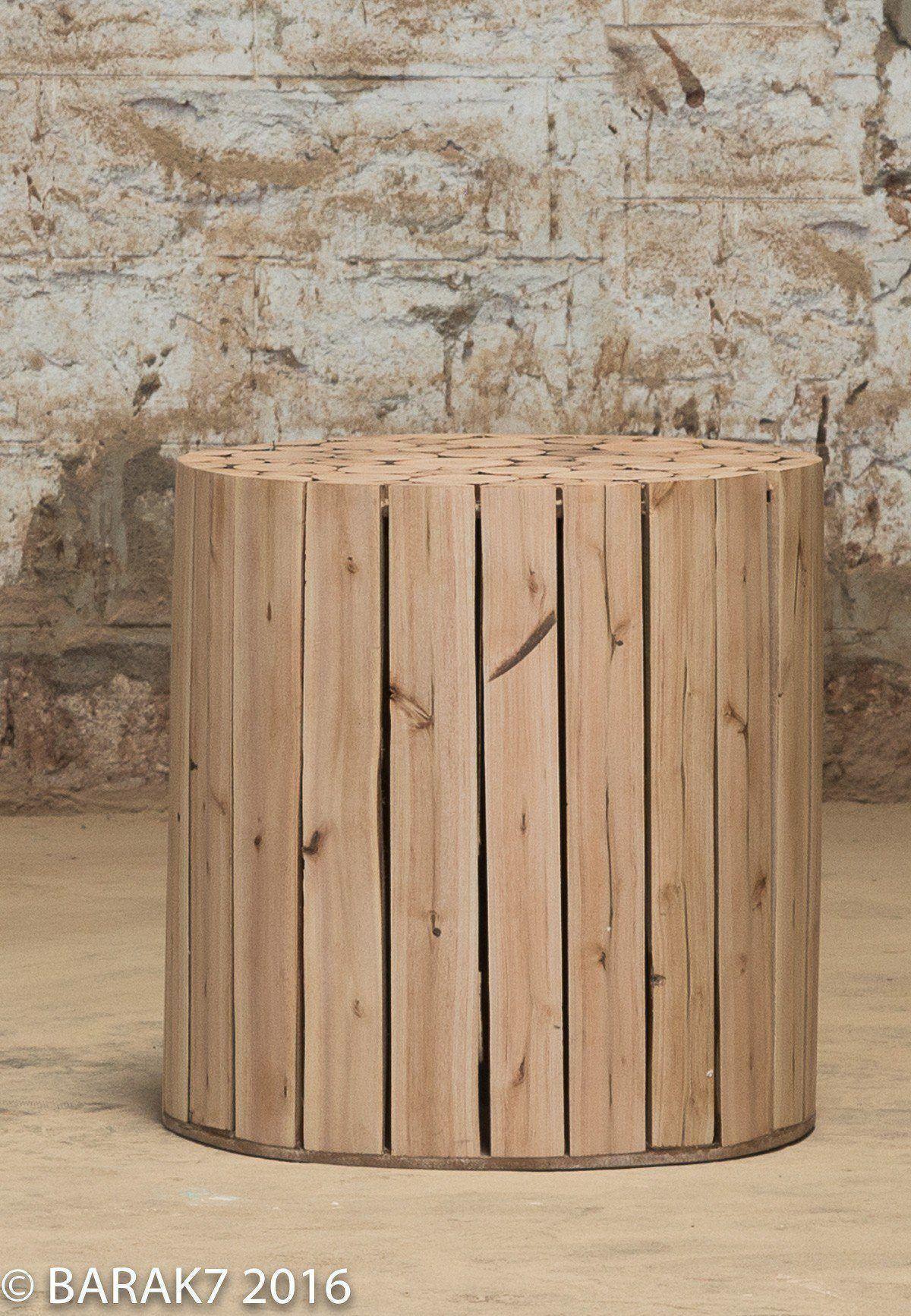 Wooden eucalyptus ottoman scandinavian style 1