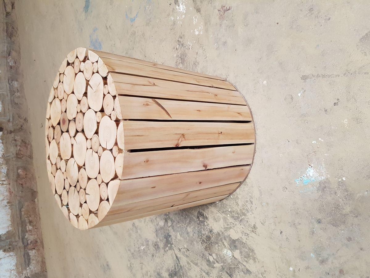 Pouf bois eucalyptus scandinave 2