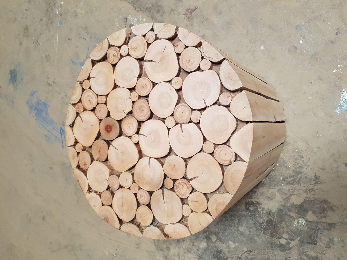 Pouf bois eucalyptus scandinave 3