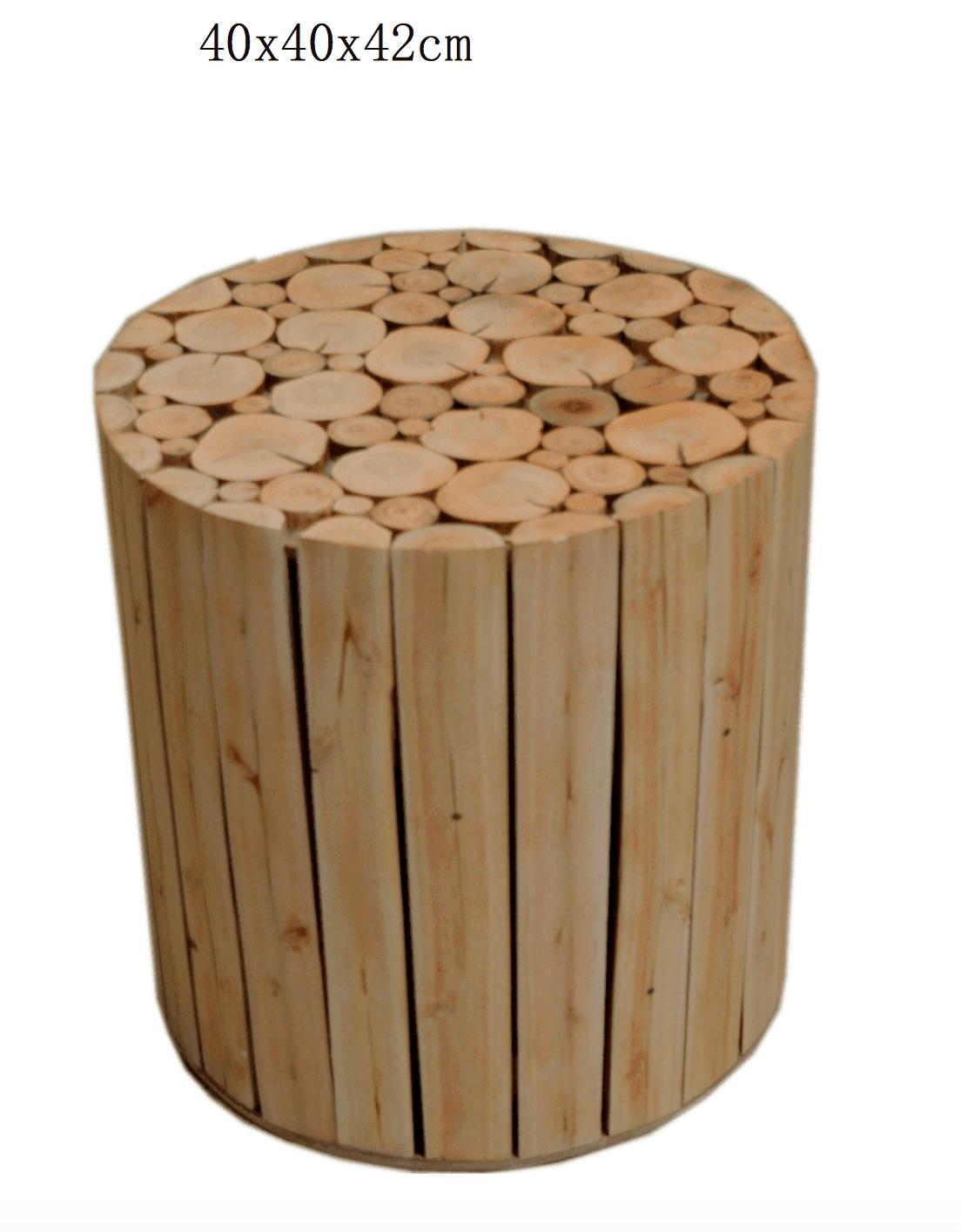Pouf bois eucalyptus scandinave 4