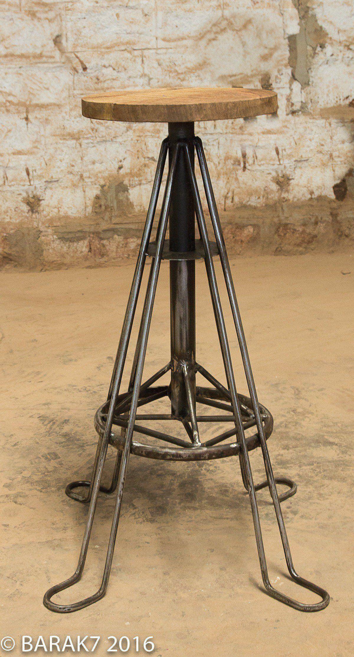 Tabouret industriel bois métal eiffel 2