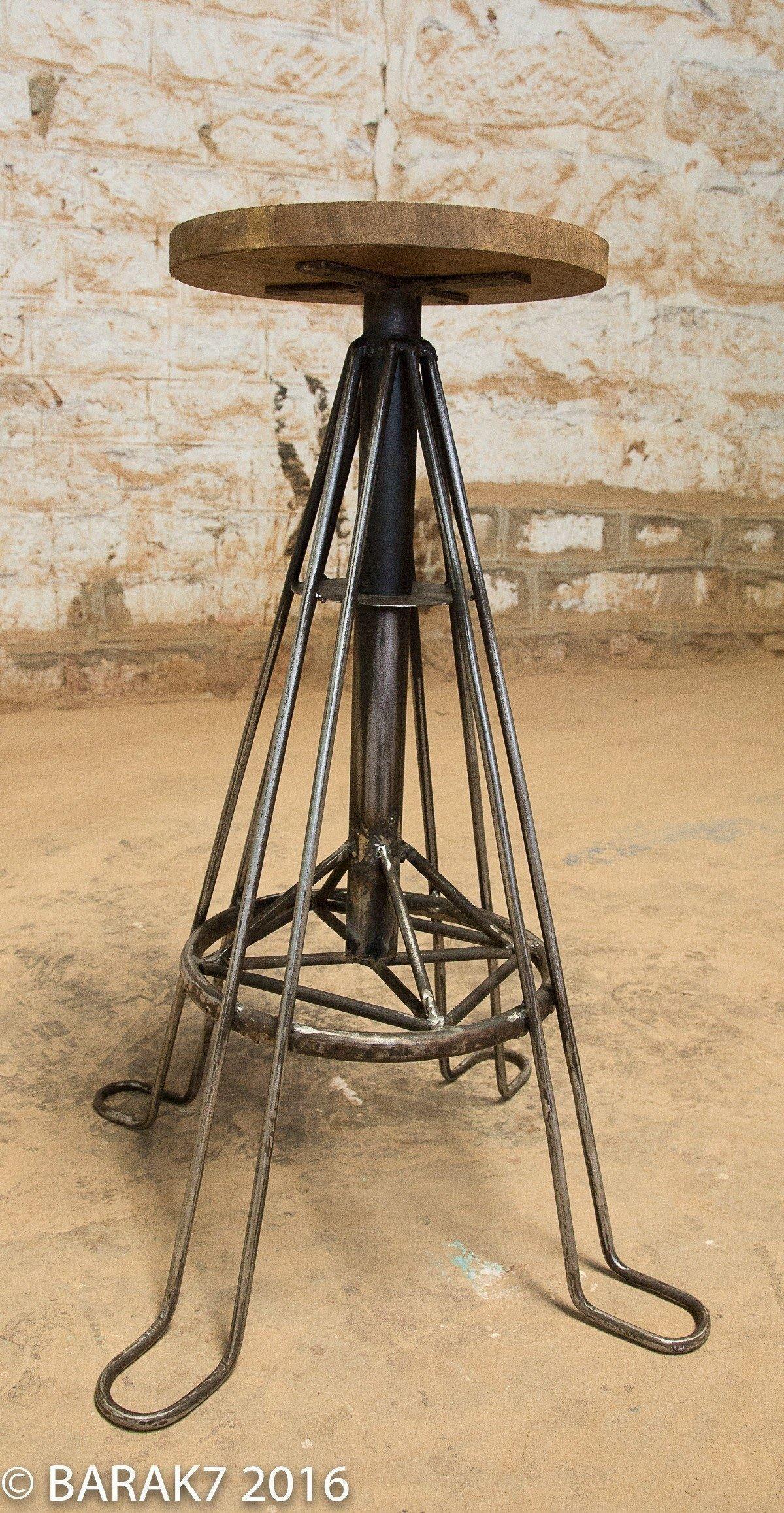 Tabouret industriel bois métal eiffel 4