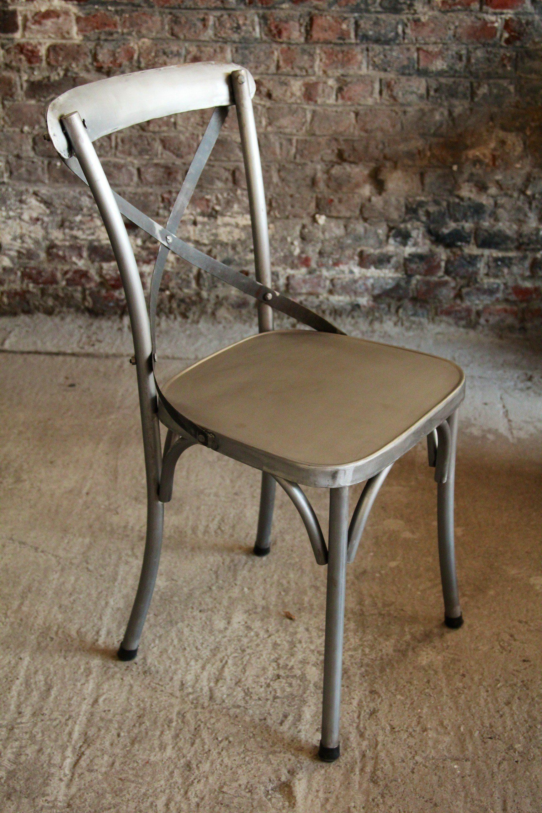 Industrial furniture industrial metal bistro chair barak 39 7 for Chaise bistrot alu