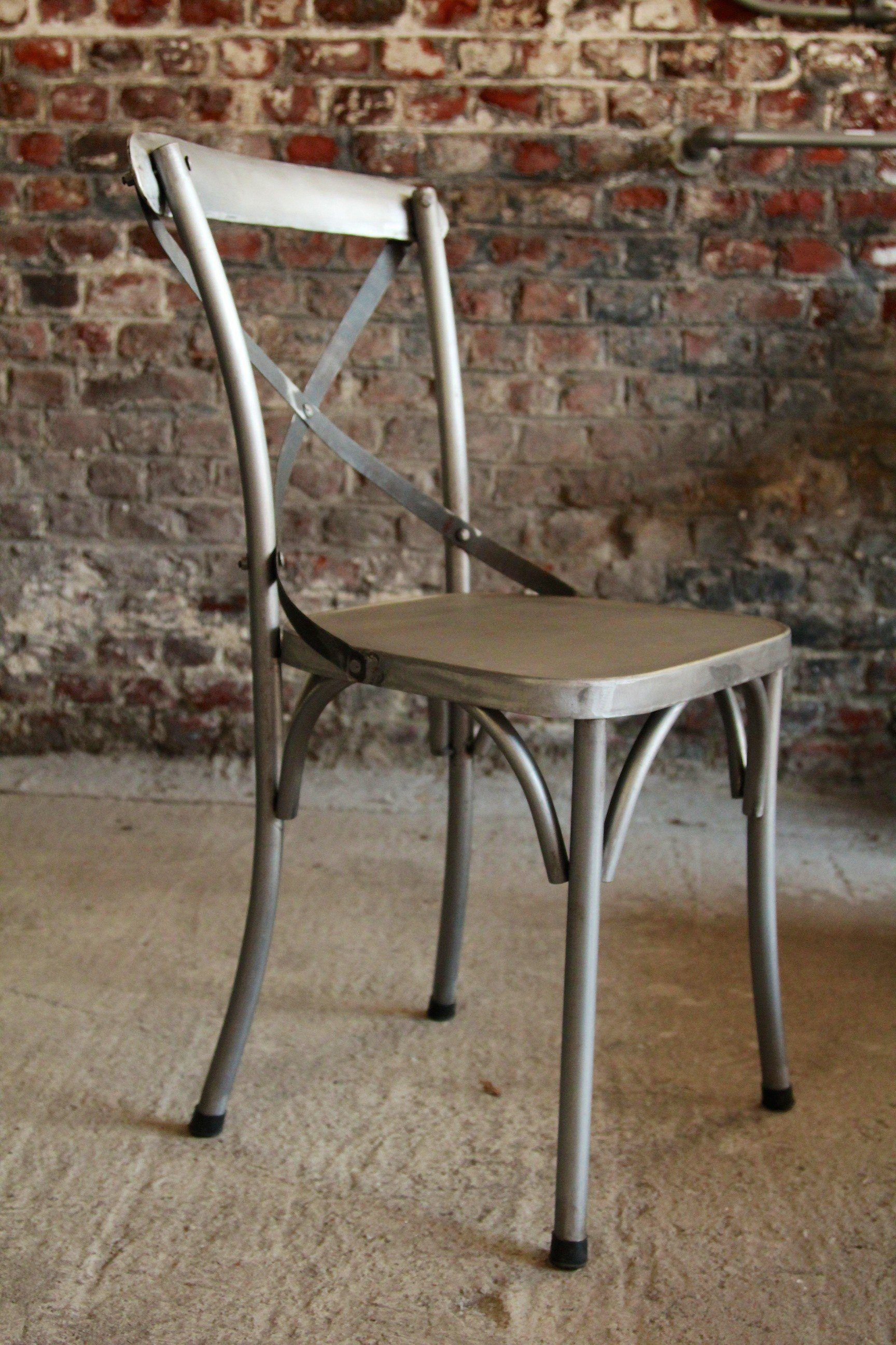 Industrial furniture industrial metal bistro chair barak 39 7 for Chaise de cuisine style bistrot