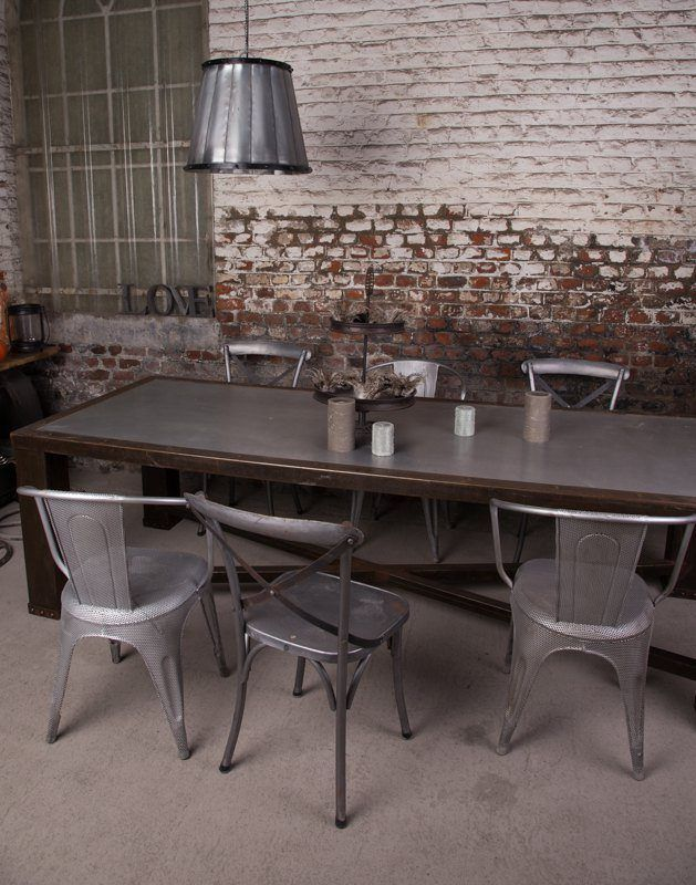 Industrial furniture industrial table with lead top - Table salle a manger originale ...