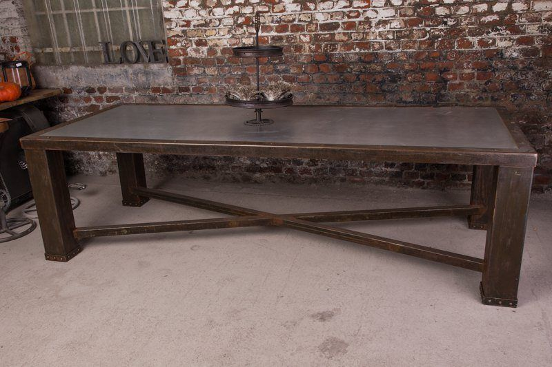 Industrial furniture industrial table with lead top - Table a manger originale ...