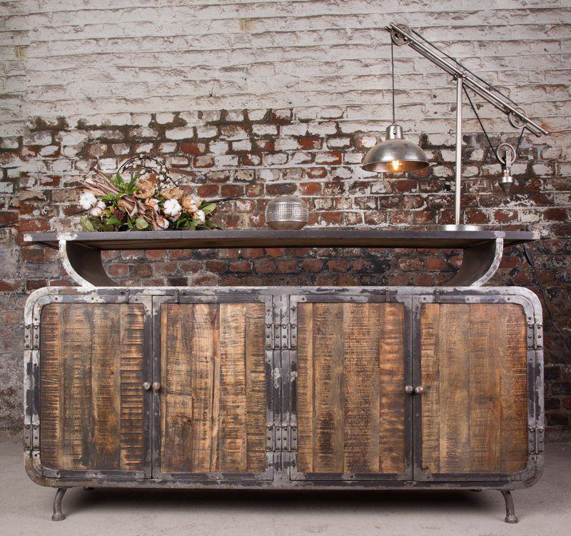 Industrial furniture industrial sideboard with scandinavian inspiration b - Buffet metal industriel ...