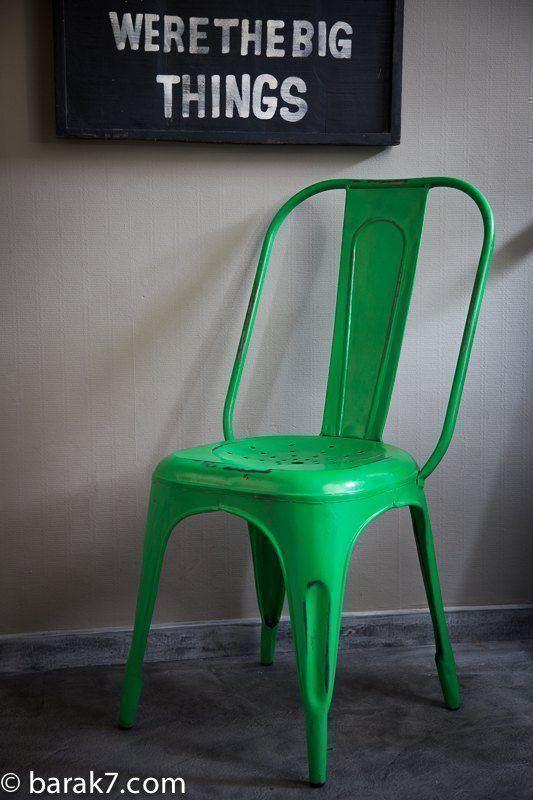 Industrial green metal chair