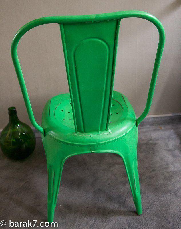 Chaise industrielle métal verte