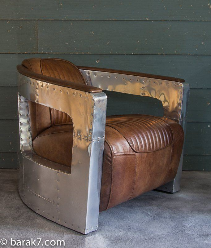 Aviator chair in aluminum and leather