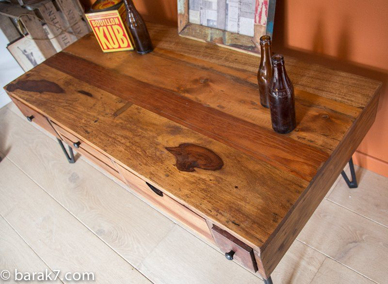 Industrial furniture industrial coffee table with scandinavian inspiration - Table basse verre roulette industrielle ...