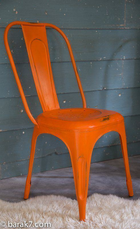 Chaise industrielle métal orange