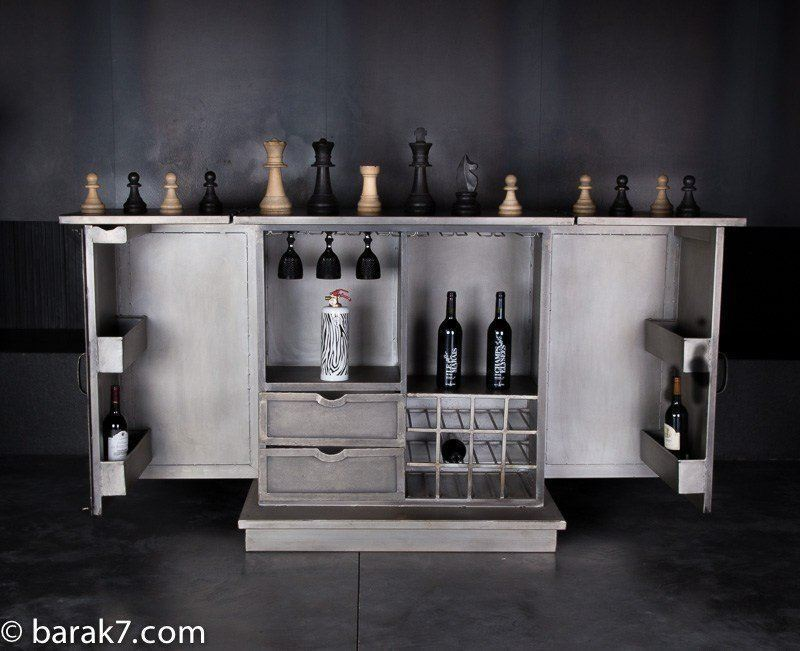 Industrial furniture industrial bar cabinet cheers - Table bar industriel ...
