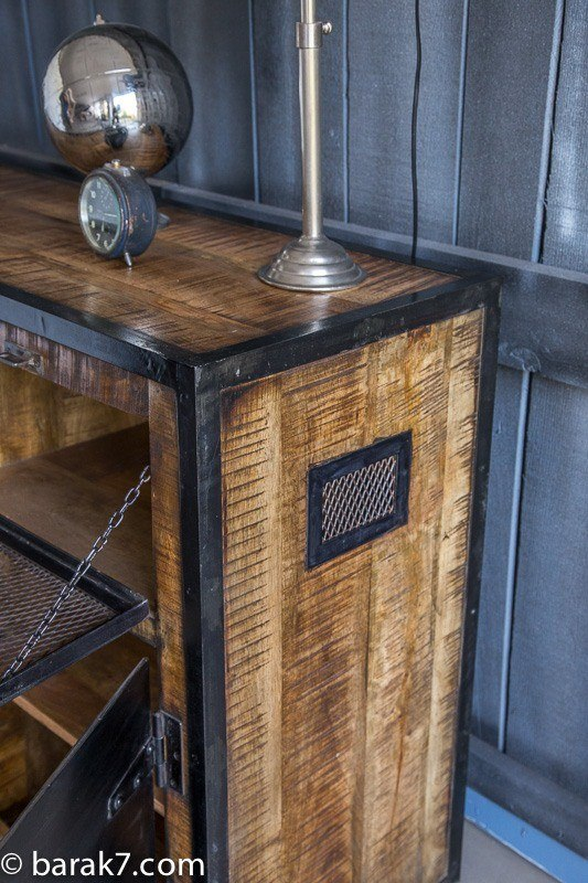 Industrial sideboard with doors and carbon finish
